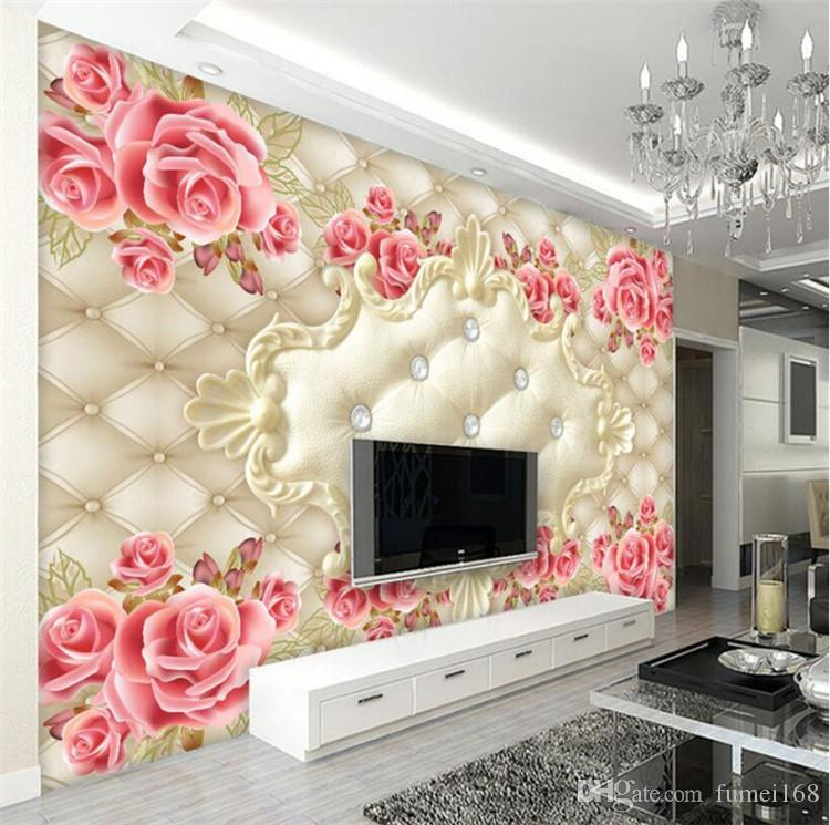 European Soft Bag Rose Art Wallpaper Photo Mural for Living Room TV Background Wall Decor Custom Size Landscape
