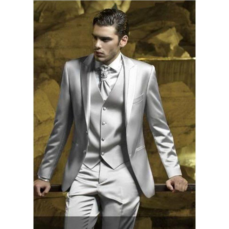 Custom Silver Grey Satin Men Suit Slim Fit Skinny Simple Stage Prom