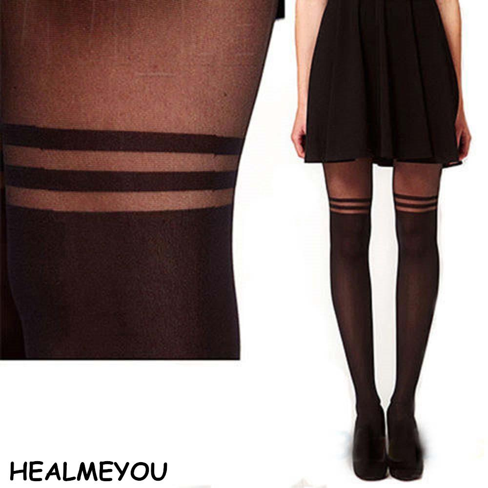fac267e7bbc 2019 Sexy Black Women Temptation Sheer Mock Suspender Tights Pantyhose  Stockings Cool Mock Over The Knee Double Stripe Sheer Tights From Salom