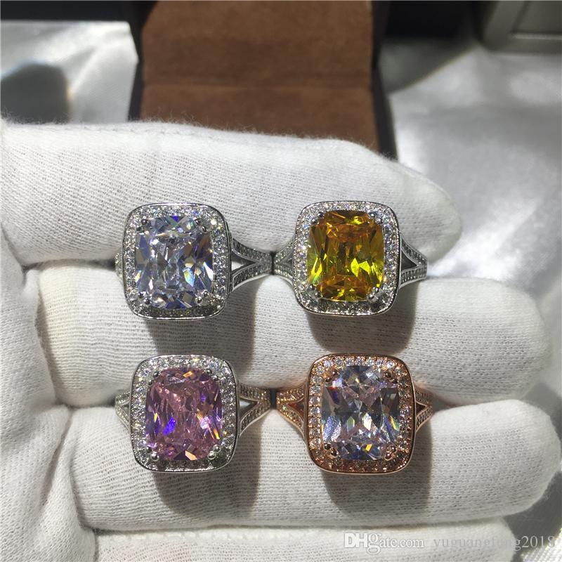 Moda Takı Majestic Sensation 10ct Birden fazla renk Gem 5A Zirkon taş 14kt Beyaz Altın Nişan Düğün Band Yüzük Seti SZ 5-11 Dolgulu