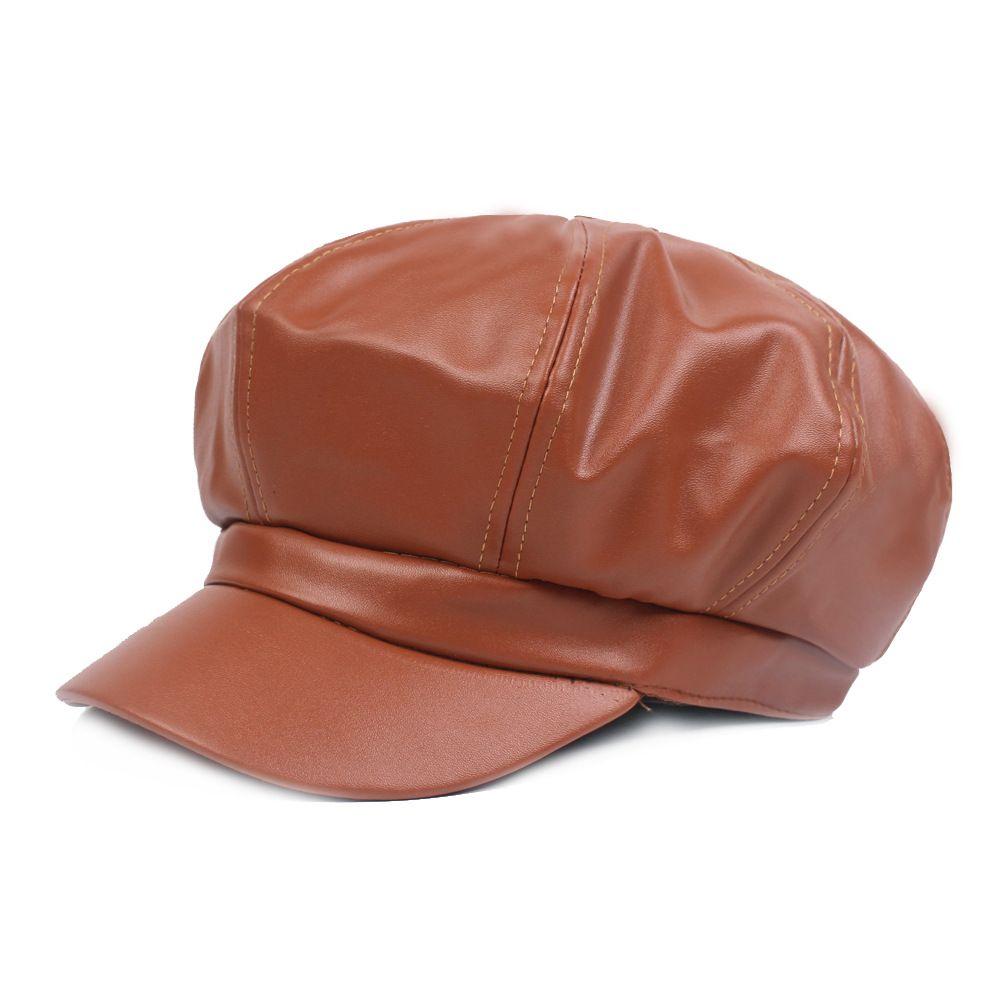 Compre Sólido Color Octagonal Pu Boina De Cuero Mujer Sombrero De Otoño  Negro Cálido Gorras De Invierno Sombrero De Pintor De Estilo Británico Boina  ... 6d78a9faef92