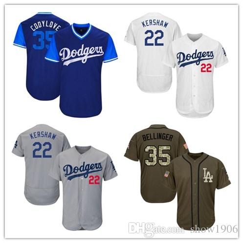 2018 Men Women Youth Dodgers Jersey 22 Kershaw 35 Bellinger Baseball Jersey  White Gray Grey Blue Green Salute To Service Players Weekend All Star From  ... bae611ab413