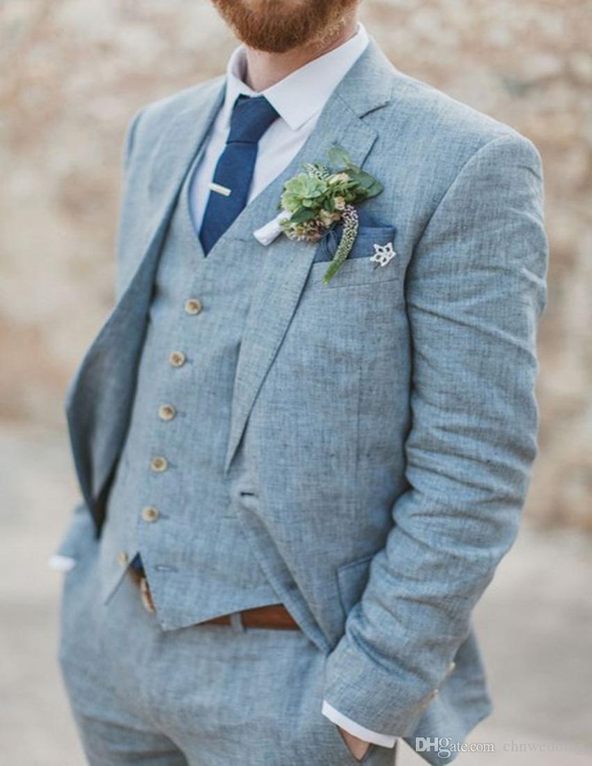 Custom Made Men SuitsGroom Tuxedos Blue Linen Groomsman Suit Summer Suits Blue Suits for Wedding WearJacket+Pants+VestTrajes de Hombre