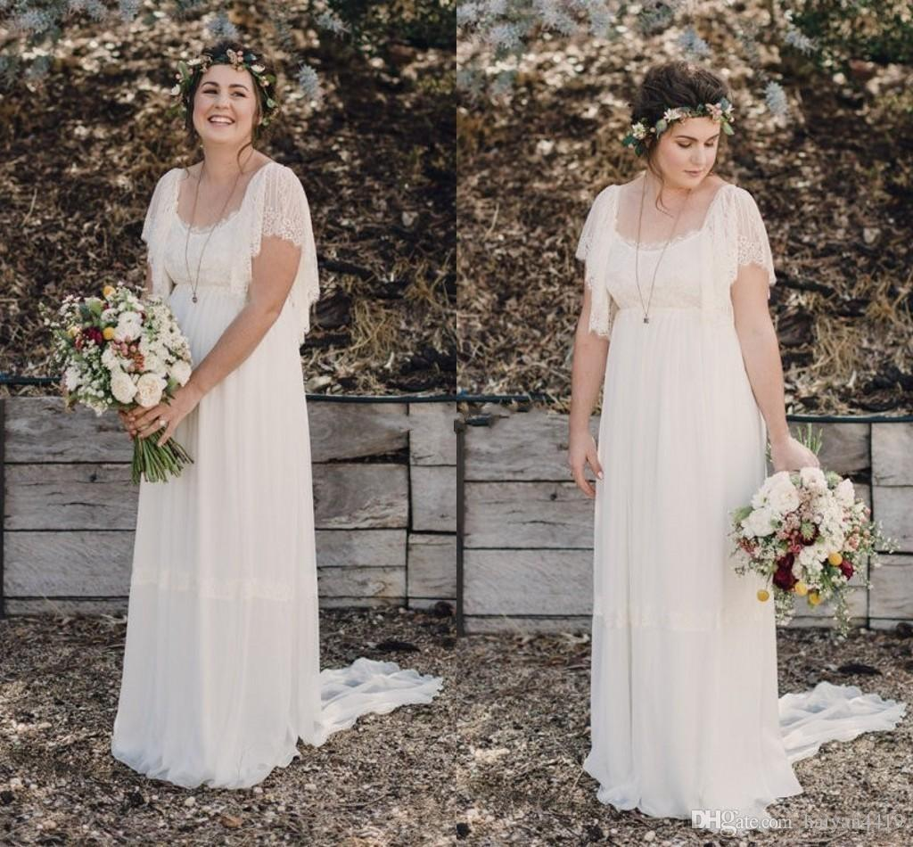 2018 A Line Wedding Dresses Ivory Lace Short Sleeves Scoop Neck Open Back Beach Bohemian Maternity Country Cheap Chiffon Formal Bridal Gowns