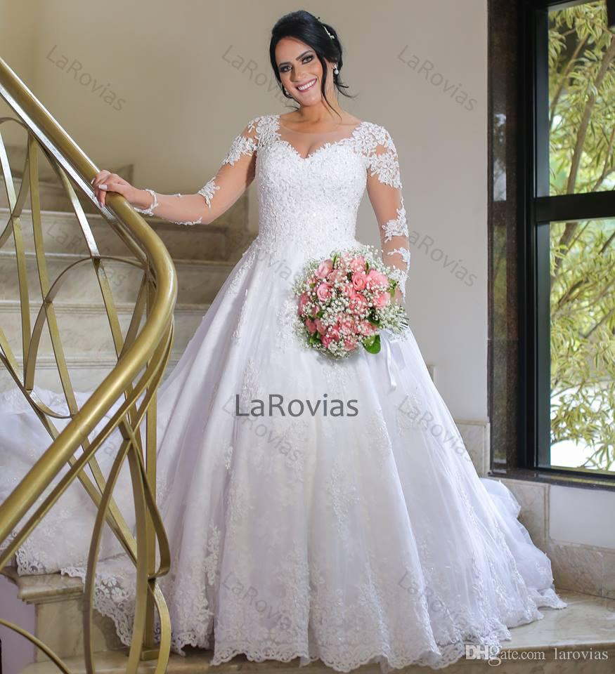 Wholesale Princess Style Lace Wedding Dresses Long Sleeves White And Ivory High Quality Bridal Gown Bride Wear Dress For Bride