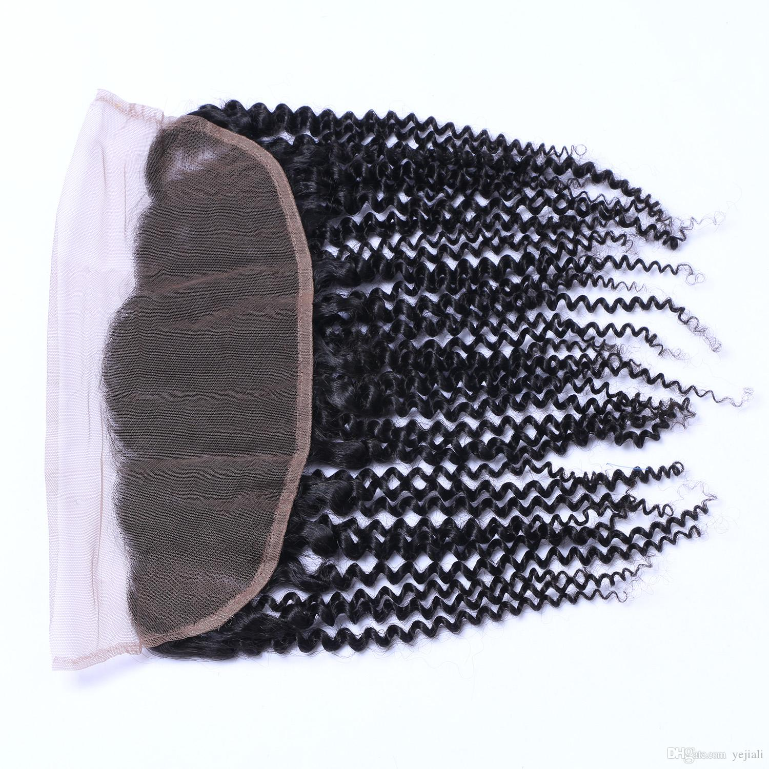 Brazilian Kinky curly 13x4 Lace Frontal Closure With Baby Hair Remy Human Hair Ear To Ear Pre Plucked Free Part