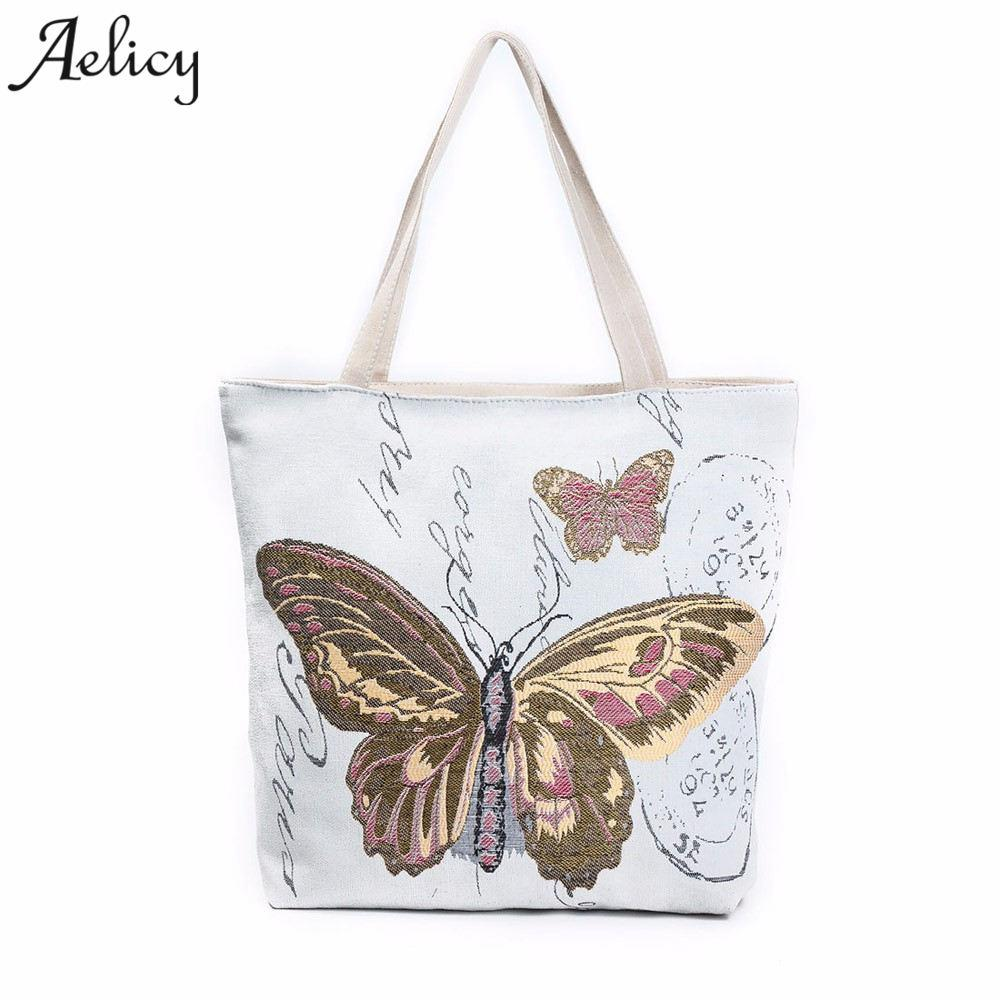e3f34a6a1 Aelicy Butterfly Printed Casual Tote Large Capacity Female Handbags Single  Shoulder Shopping Bags Women Canvas Beach Bag Bolsa Ladies Purses Fashion  Bags ...