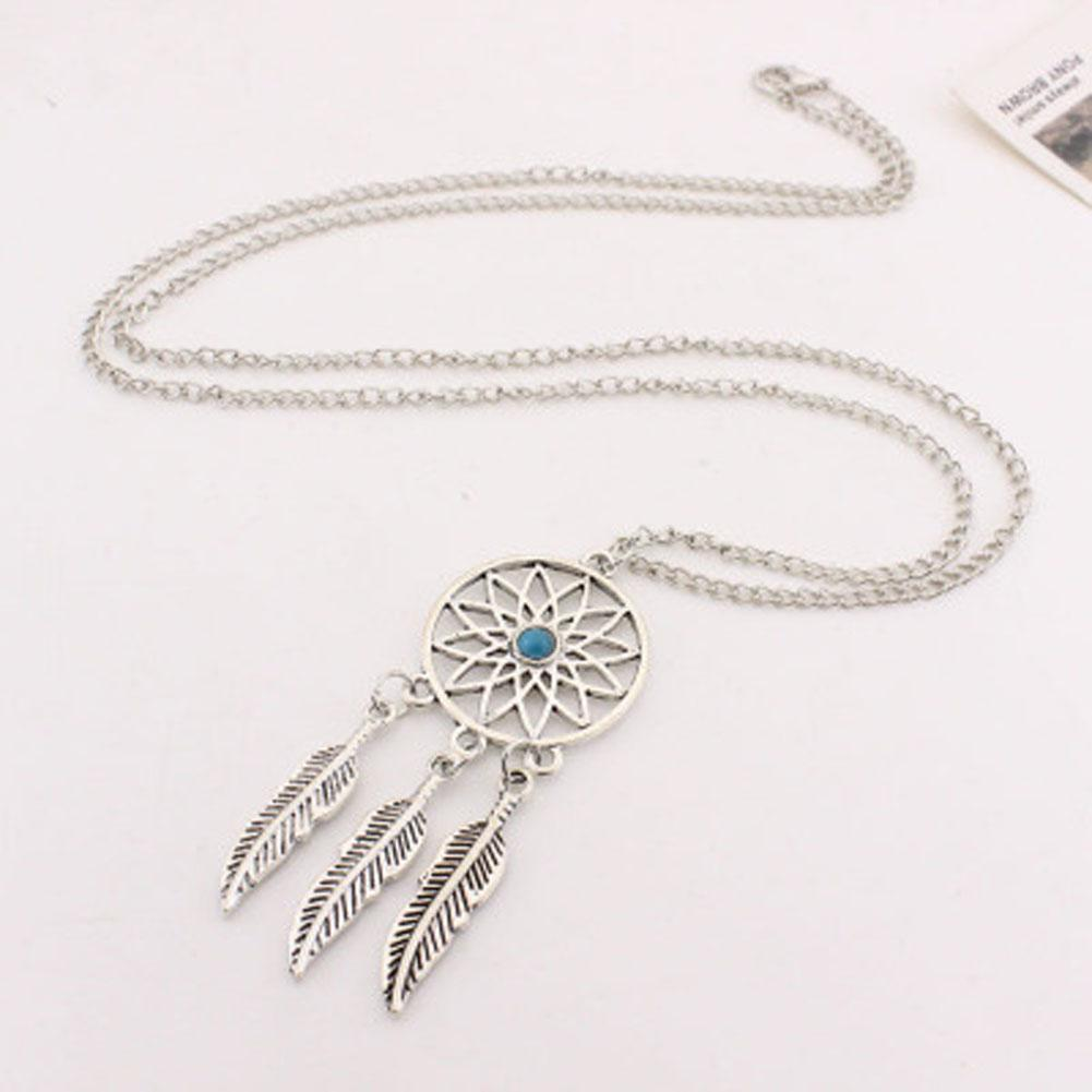 Dream Catcher Charm Pendant Necklace Jewelry Set Antique Silver Dreamcatcher Dangle Earrings Jewelry Set For Women Party