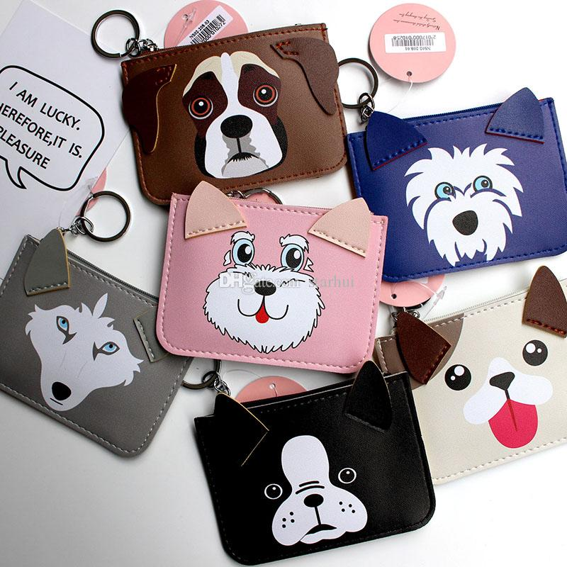 Party Favor Puppy Ear Cartoon Card Holder With Hanging Keychain Credit Card Coin Purse Holders Party Gift 13 Color WX9-294