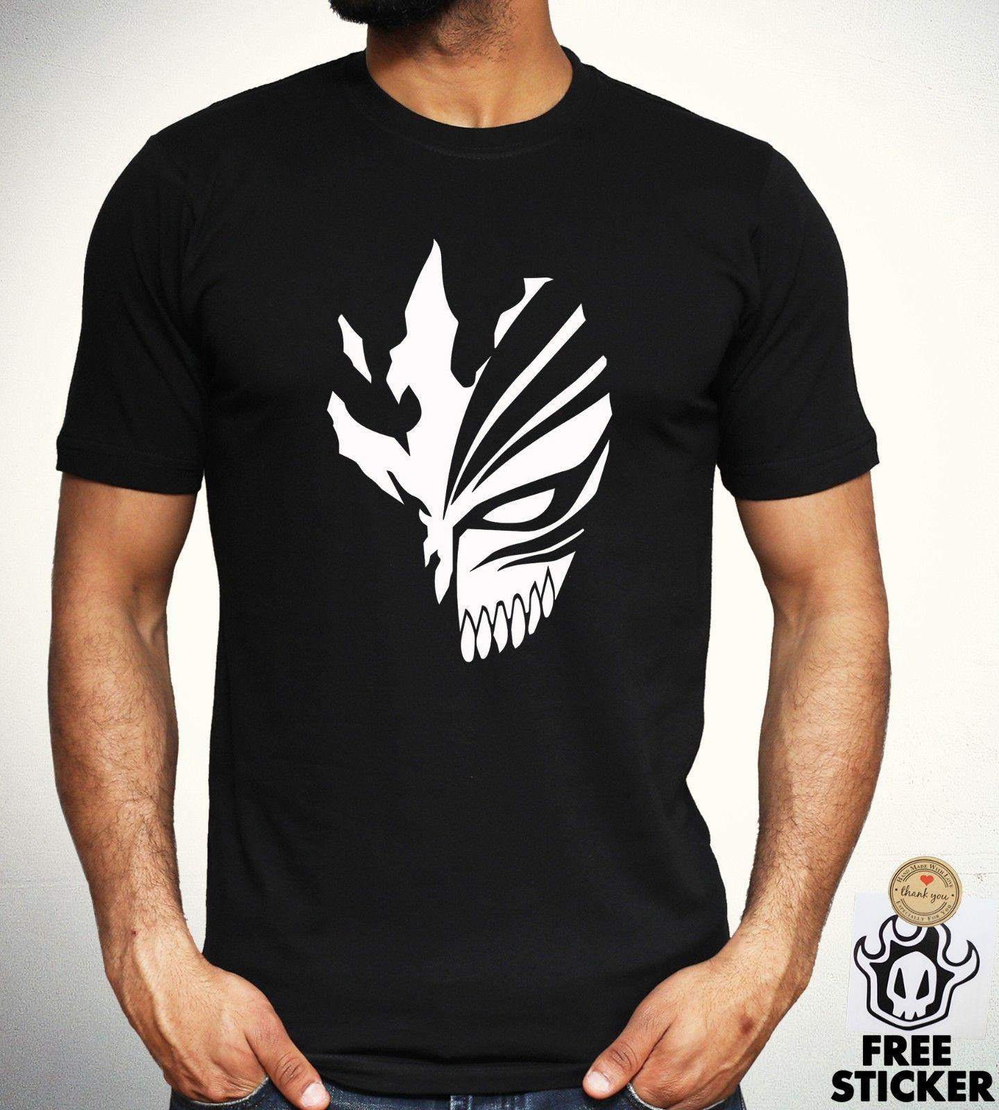 93d5cadcb4b3c Bleach T-Shirt Hollow Mask Ichigo scary Dope Dark Anime Black Top Novelty  Men
