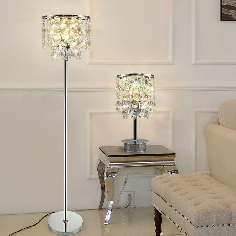2019 Modern Luxury Crystal Floor Lamp Smoky Gray Transparent Table