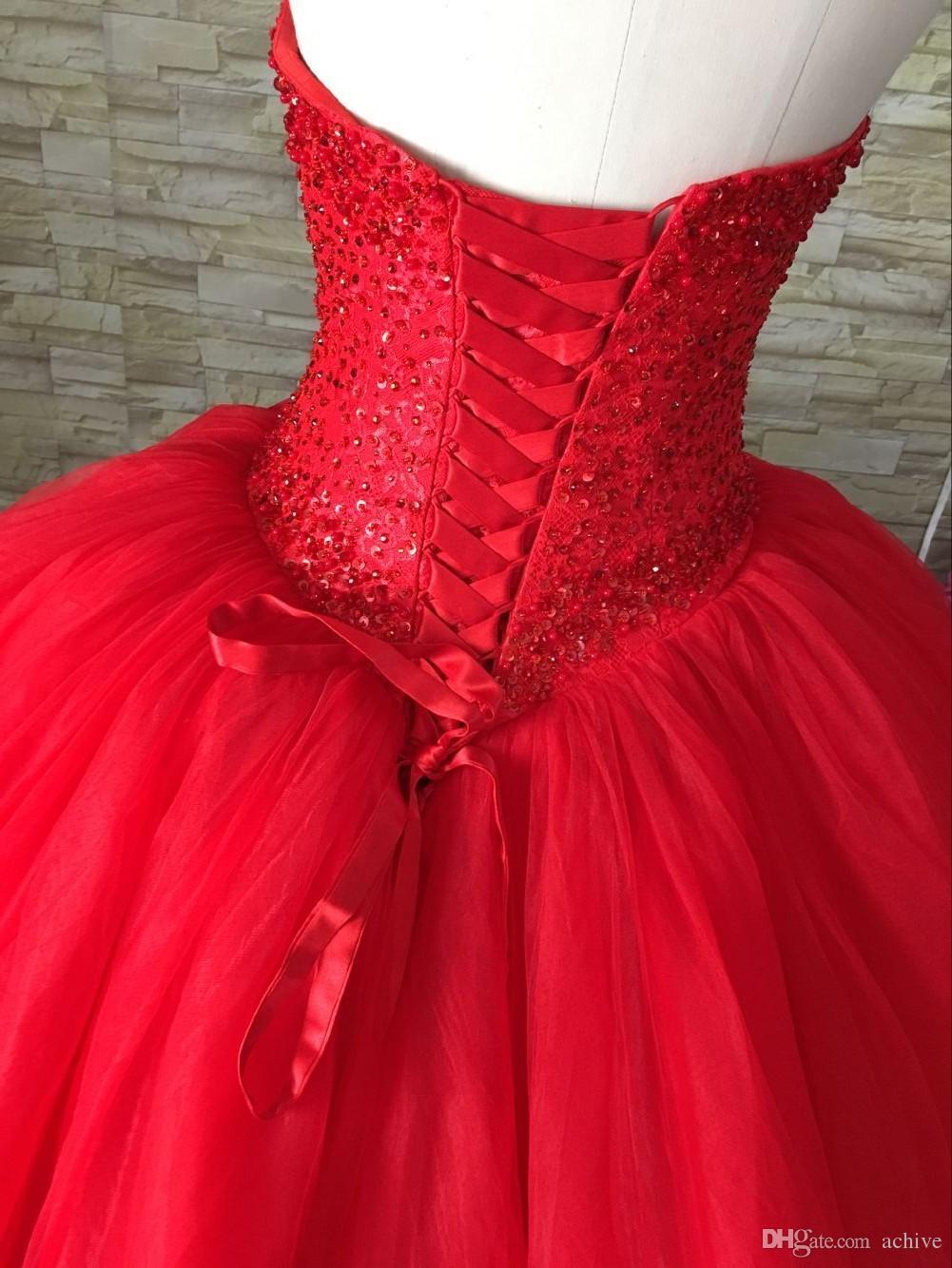 Gelin Ağır Boncuklu Pullarda Kırmızı Gelinlik Balo 2020 Sweetheart Korse Örgün Gelinlikler Çin Yüksek Kalite Gelin Elbise