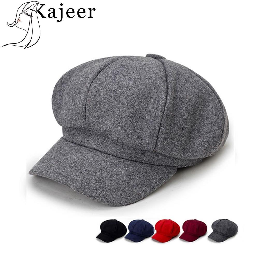 Compre Kajeer Moda Para Mujer Sombrero De Boina Nuevas Llegadas Sombreros  Octogonales Para Mujer Moda Pana Vintage Boina Otoño Invierno Vendedor De  ... 32a6cef1a58