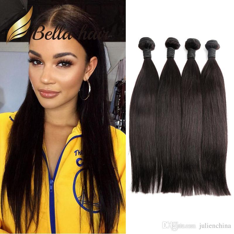 BellaHair®安い4バンドルブラジル人人間の髪織り7Aのドナー髪の天然の黒8-24インチ厚いきれいなテールストレートヘアウィーズ