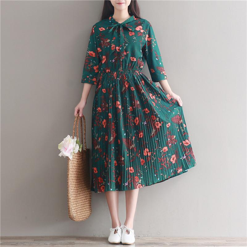47284e9e6b Vintage Retro Green Floral Print Long Dress 2018 New Spring Summer Women  Flowers Pleated Chiffon Dresses Ladies Black Dress Summer Lace Dresses From  ...