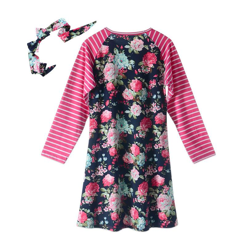 Fashion mom and kids stripe floral family matching outfits Baby Girls clothes dress mother daughter Children dress