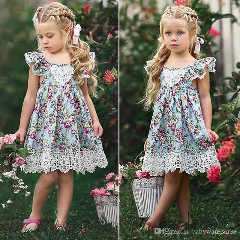 1e859f3799 2019 2018 Summer Little Girls Clothes Flower Lace Baby Dress Princess Kids  Baby Girls Dress Toddler Floral Party Wedding Dress Children Sundress From  ...