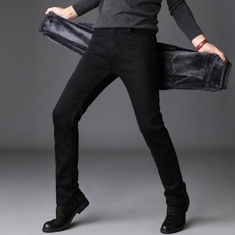 79e3d1771e 2018 2018 Winter New Men S Warm Jeans Business Casual Elasticity Thick Slim Denim  Pants Brand Fleece Trousers Black Plus Size 40 From Xiatian6