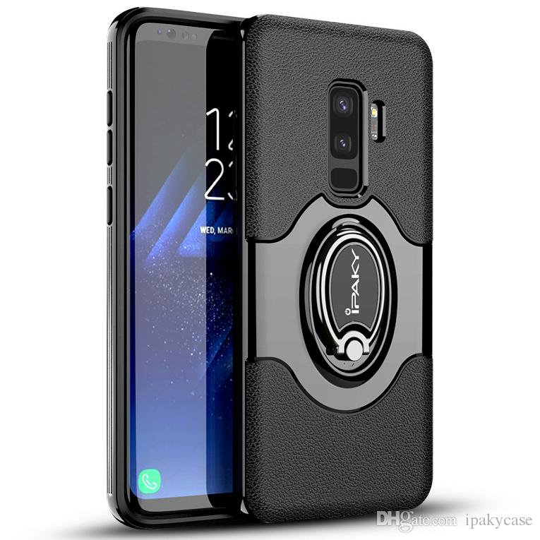 IPaky Case For Samsung S9 Plus Ring Stand Holder SM S9+ Back Cover PC+TPU  Drop Proof Cases With Vehicle Magnetic Function Package In Stock Cell Phone  ... 90c575f2037