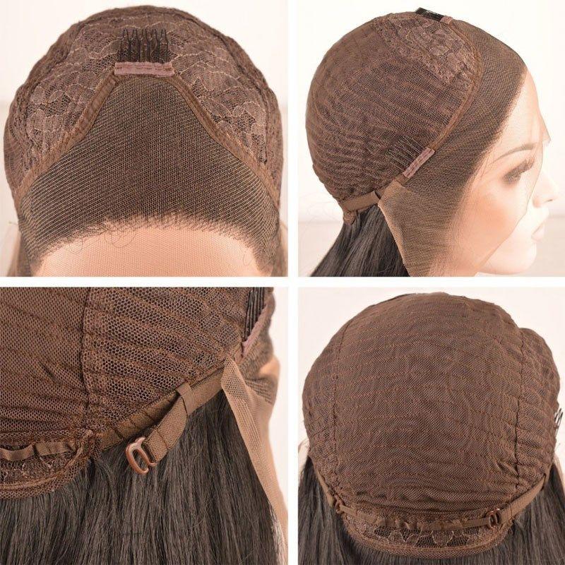 De alta calidad caja larga trenza de la peluca sintética del trenzado del cordón de la peluca del frente negro / burdeos trenzas de color rojo cornrow encaje pelucas para mujeres Negro