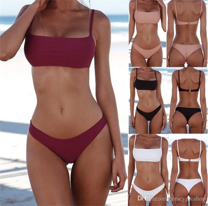 da59b9062baff Summer Women Solid Bikini Set Push-up Unpadded Bra Swimsuit Swimwear ...