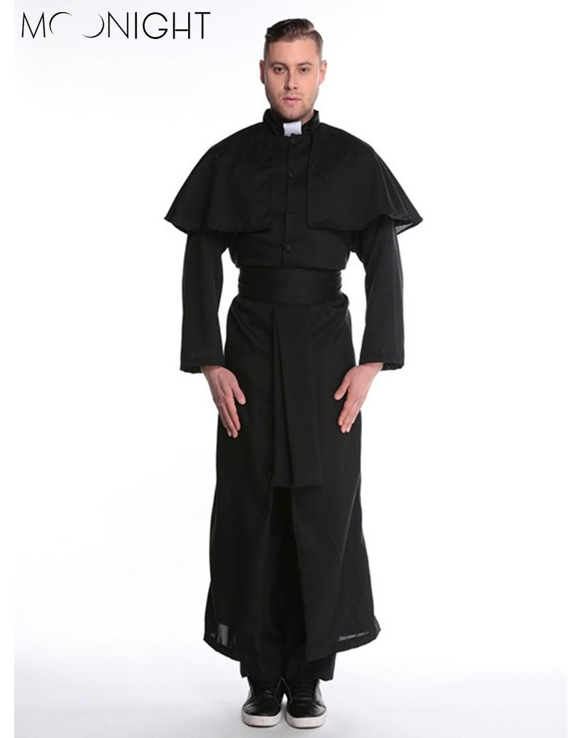 9455f4fc440c6 MOONIGHT Halloween Costumes Adult Mens Costume European Religious Men  Priest Uniform Fancy Dress Cosplay Costume for Men