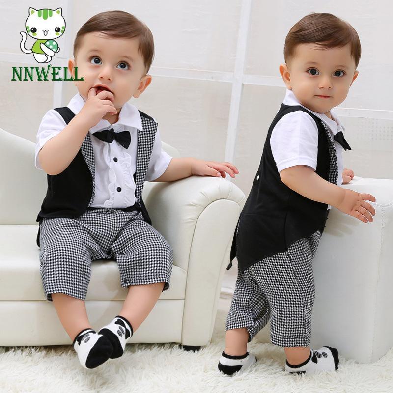 f4e987535787 NNW Newborn Gentleman Infant Baby Boy Tuxedo T-shirt Tops Pants Outfit  Clothes Set 0-24m Black white