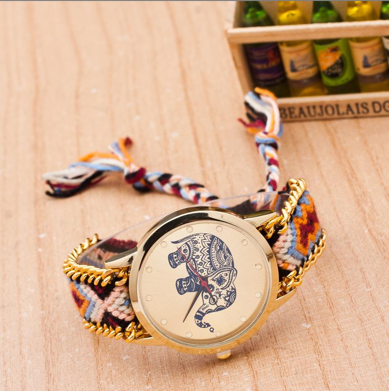 New Elephant Watch National Braided Flower Elephant Bracelet watch Popular Clock Colorful band Girl Handmade Weaved watches