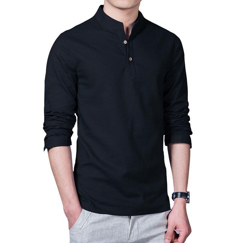 62c11998194 2019 Wholesale 2017 Asian Fashion Long Sleeve Mandarin Collar Mens Shirts  Male Casual Linen Shirt Men Plus Size 4XL 5XL White Camisas From Bigease