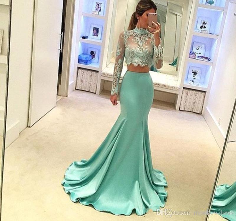Prom Dresses 2019 Elegante Mint Green Sexy Sheer High Neck Lace Meerjungfrau Abendkleider Appliques Zwei Stücke Plus Size Brautjungfernkleider