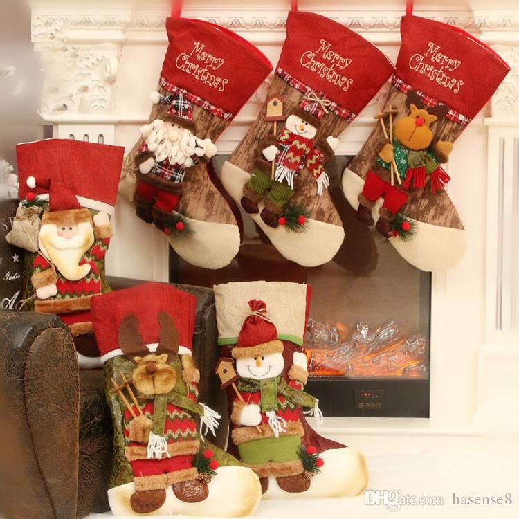 45cm xmas christmas stockings decorations big size stocking holders gift bags cute deer snowman santa 3d hanging kids toys christmas ornament top toys for - Big Christmas Stockings