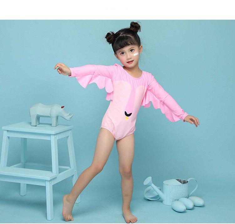 85149e3a773ec PROSEA Baby Girls Super Cute Swan One-piece Swimsuits Kids Children's Long  Sleeve Sun-protective Swimwear Bathing Suit Beachwear