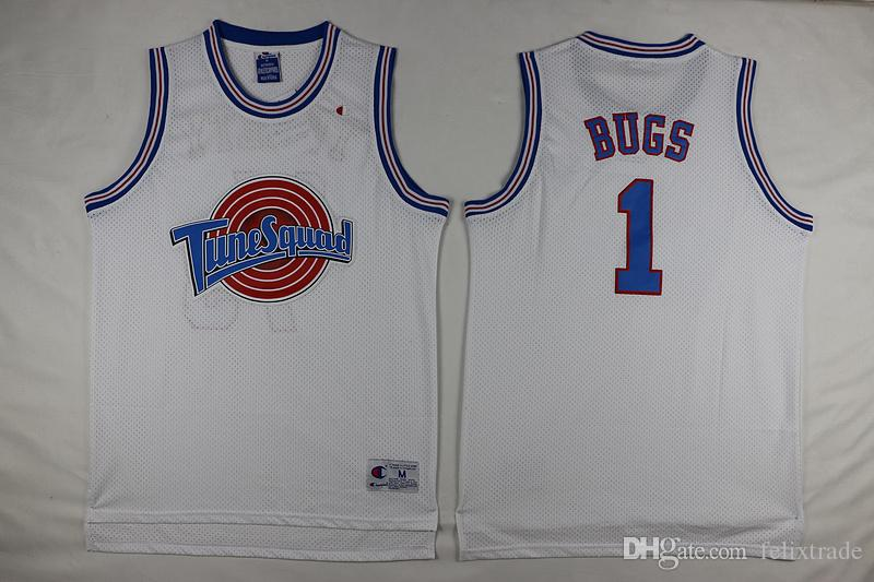 24a3ad68a3d3 2019 Bugs Bunny  1 Space Jam TuneSquad Jersey Double Stitched Vintage 90s  Basketball Jerseys IN STOCK Black White From Felixtrade