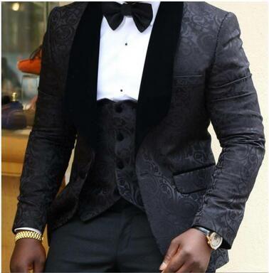La migliore vendita 2018 Custom Made Groom Wear rosso / bianco / nero uomo abiti da sposa Prom Tuxedo uomo abiti 3 pezzi giacca + pantaloni + Vest + Bow