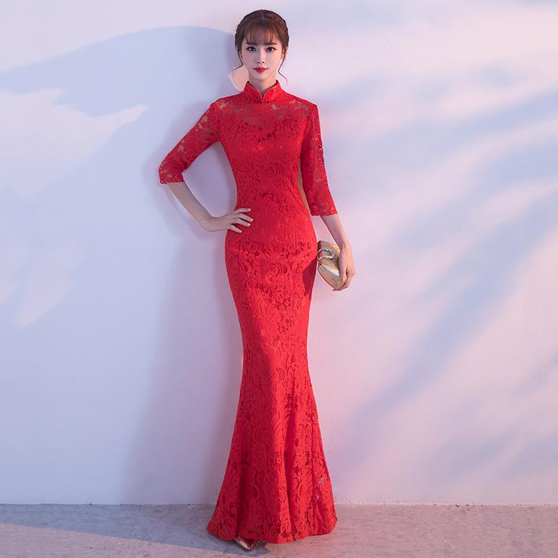HYG92 Chinese Traditional Dress Red Lace Fishtail Wedding Qipao Dress  Chinese Bride Mermaid Wedding Cheongsam Dress Long Cheongsam Turquoise  Dresses White ... c262668d2248