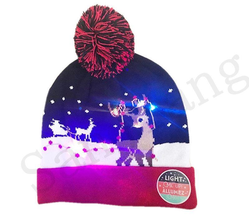 7933e916 2019 Unisex LED Knitting Hat Christmas Lights Beanie Santa Claus Snowman  Reindeer Elk Cap Festivals Luminous Flashing Hair Ball Hats Knitted Caps  From ...