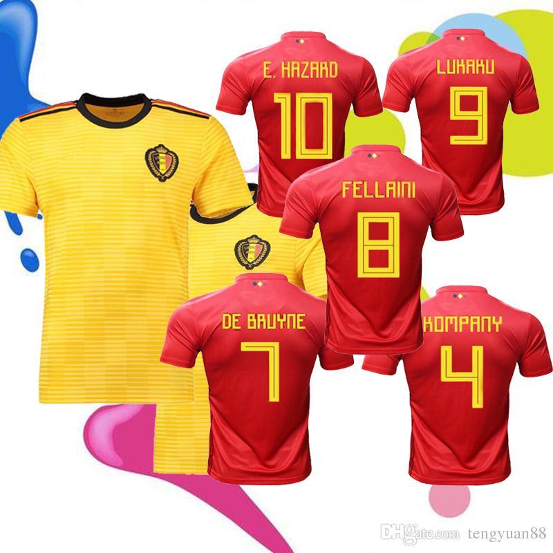 5f2008539 2018 World Cup Belgium Home Away Soccer Jersey 2018 Thail Quality LUKAKU  FELLAINI E.HAZARD DE BRUYNE 18 19 Belgium Football Shirt Football Jersey  Camiseta .