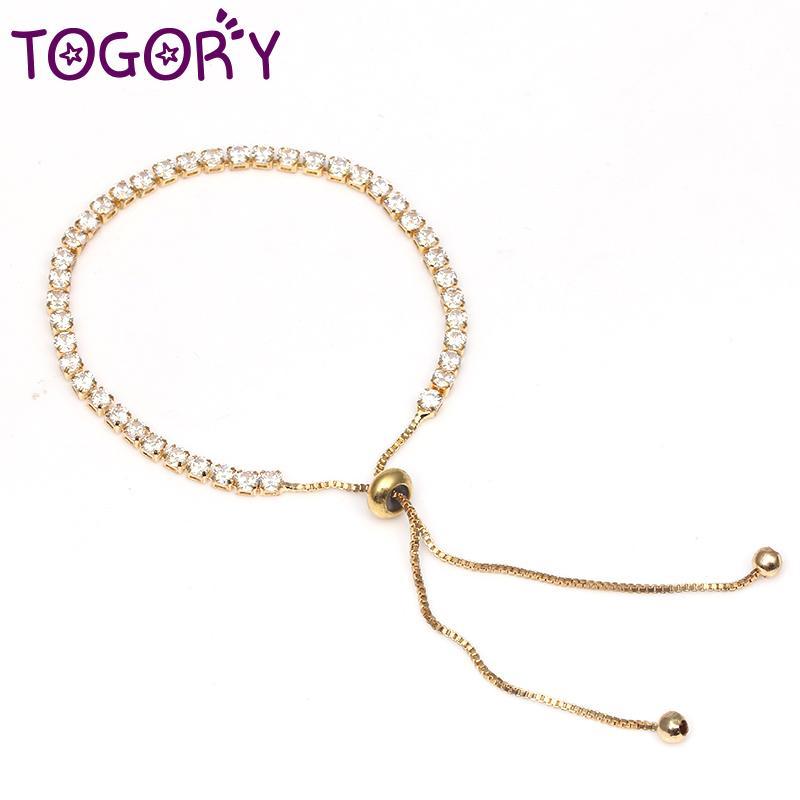 cebf2d28b07e0 TOGORY Fashion Tennis Bracelet Gold Color Sparkling Cubic Zirconia Adjust  Fine Bracelet Bangle Fit Bead Charm Jewelry Gift
