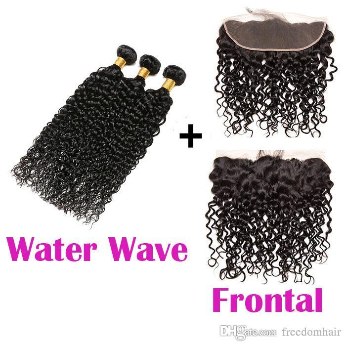 Water Wave Brazilian Human Hair Bundles With Frontal Indian Virgin Hair  Extensions Can Be Straightened And Curled Texture Water Wave Womens Hair  Clips Hair ... f07b47779