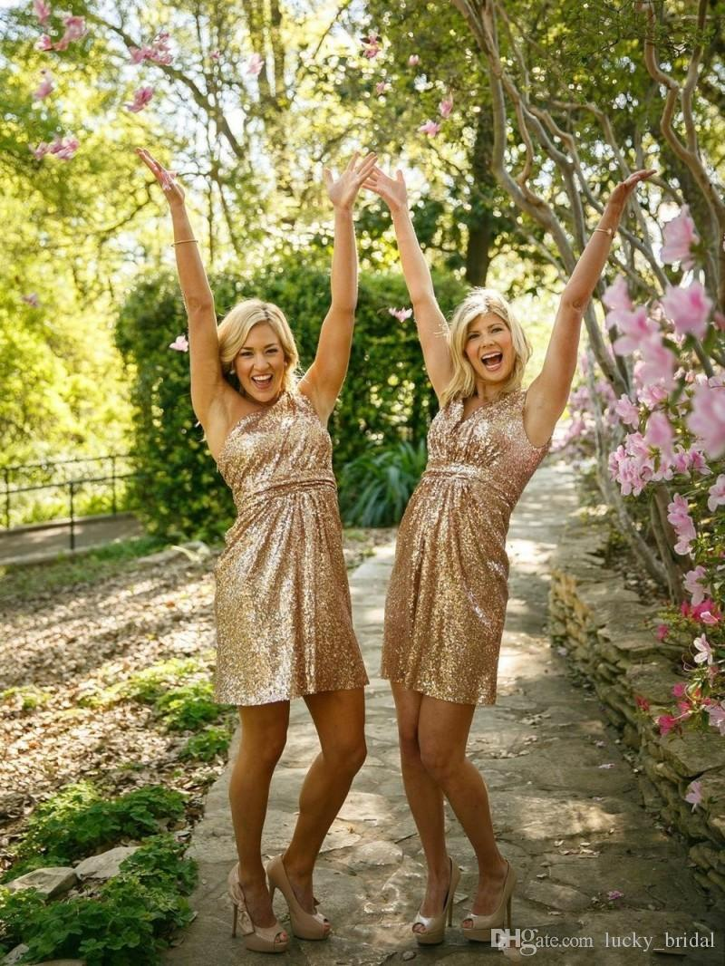 Hot Gold Sequin Above Knee Bridesmaid Dresses Sexy Girl Short Wedding Party Dresses Custom Made 2018