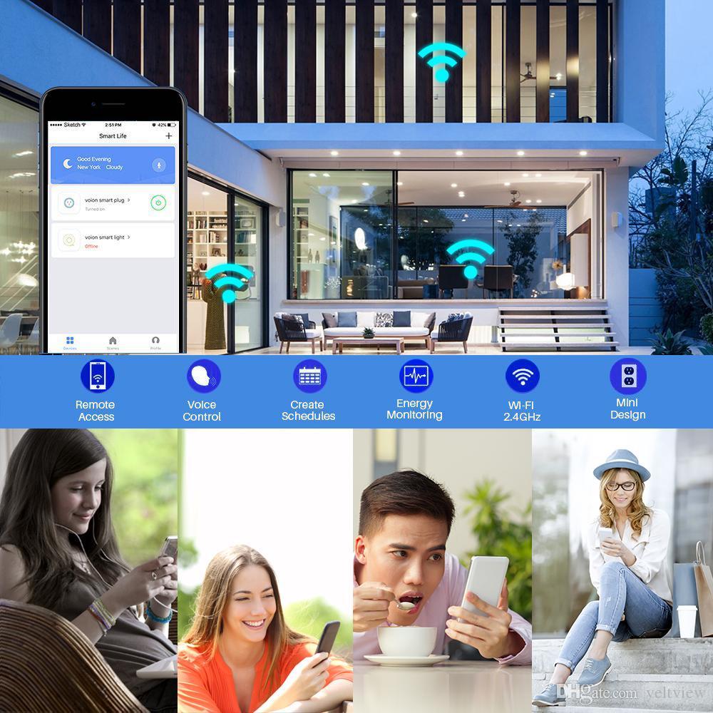 Mini SP201 Wifi smart prise minuterie prise de courant Smart Remote contrôle sans fil voix prise US 110-240V 16 a soutien alexa Echo google home IFTTT