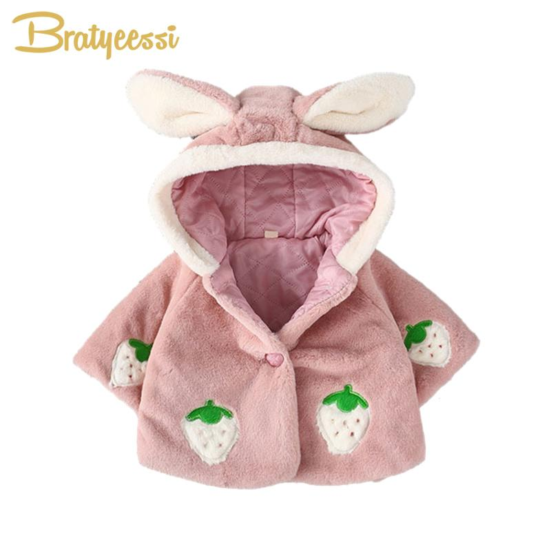05ab4999ec03 Cute Baby Coat For Girls Rabbit Hooded Winter Baby Girl Clothes ...