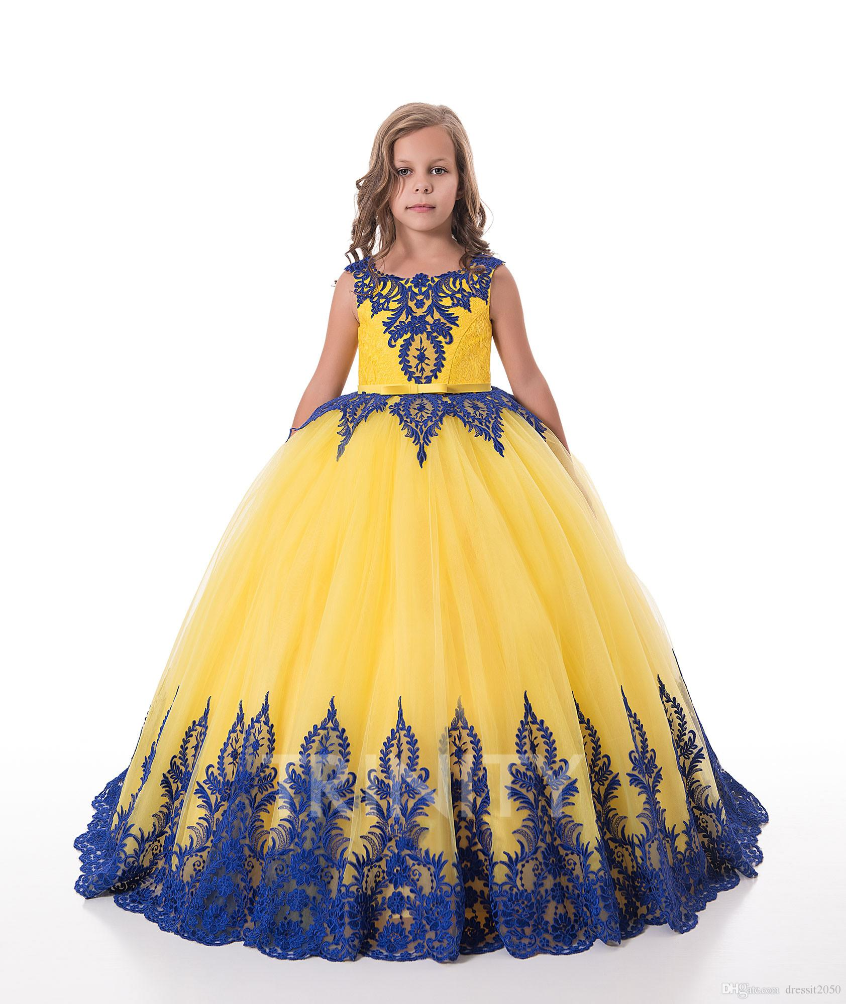 275f667a69a Bright Yellow Royal Blue Lace Applique Flower Girl Dresses Girls  Pageant  Dresses Holidays Birthday Dress Skirt Custom Size 2 14 DF711364 Little Girls  In ...
