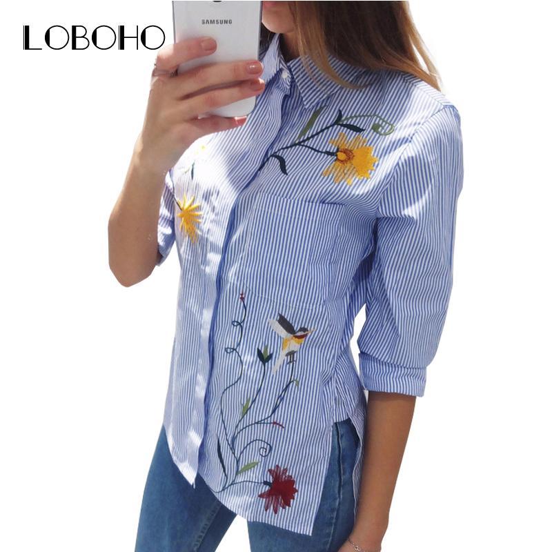 1bcf0a6fd95e Camisa de rayas azules con bordados Flor de manga larga Blusa gasa  Primavera 2018 Moda Camisas largas ocasionales Ropa de mujer