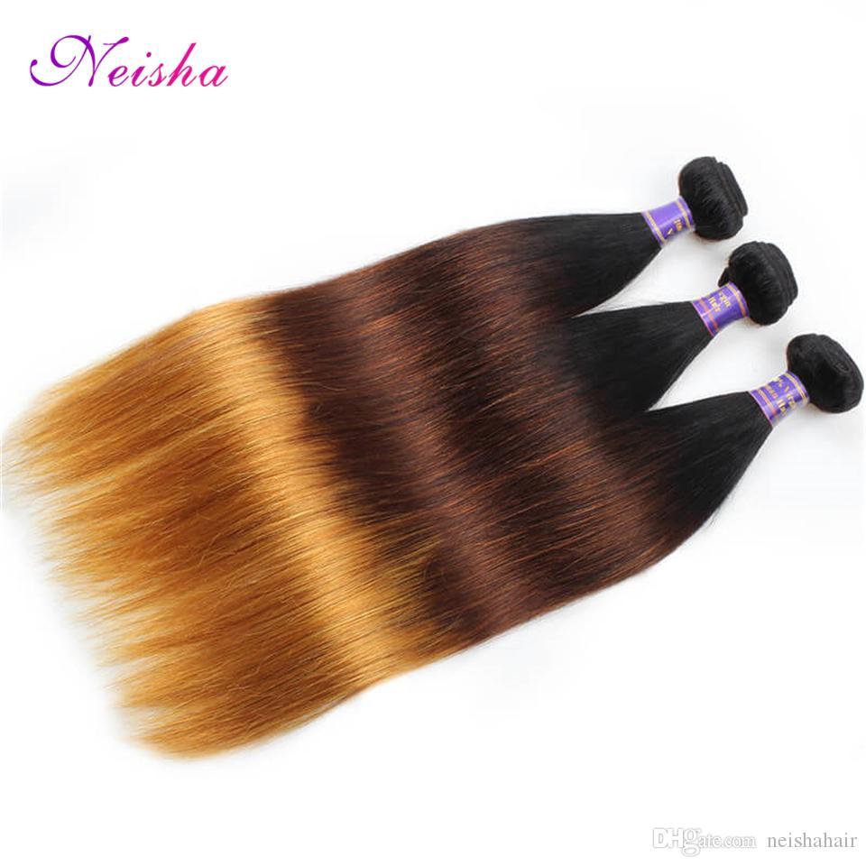 Yeni Ombre Brezilyalı Perulu Malezya Düz Saç Kapatma Ile T1B / 4/27 İşlenmemiş Virgin Remy İnsan Saç 3 Demetleri Ile Dantel Kapatma