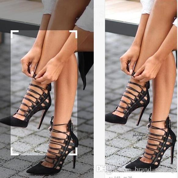 b6724bf702 Woman's Sexy High Heel Casual Nightclub Stiletto Cover Heel Hollow Modify  Legs Summer Cross Lacing Pointed Toes 8cm Female Roman Pumps Sexy High Heel  Casual ...