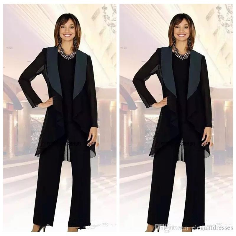 2018 Vintage Black Chiffon Mother of the Bride Suits Plus Size Cheap Three Pieces Mother of Bride Groom Pant Suit for Wedding Pant Suit