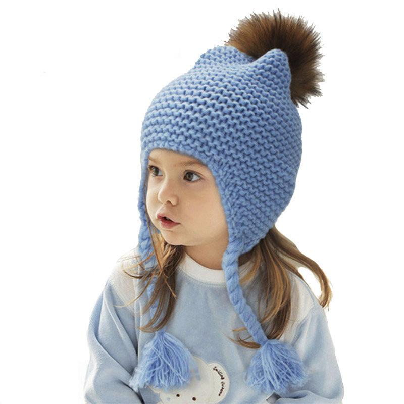 2019 Free Ship Kids Real Fur Pom Pom Hat Baby Winter Crochet Earflap