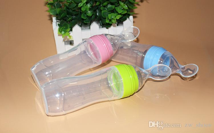 new 120ml Baby silicone Feeding Bottle With slicone Spoon Baby Food Dispensing Spoon Squeeze Feeder bottle