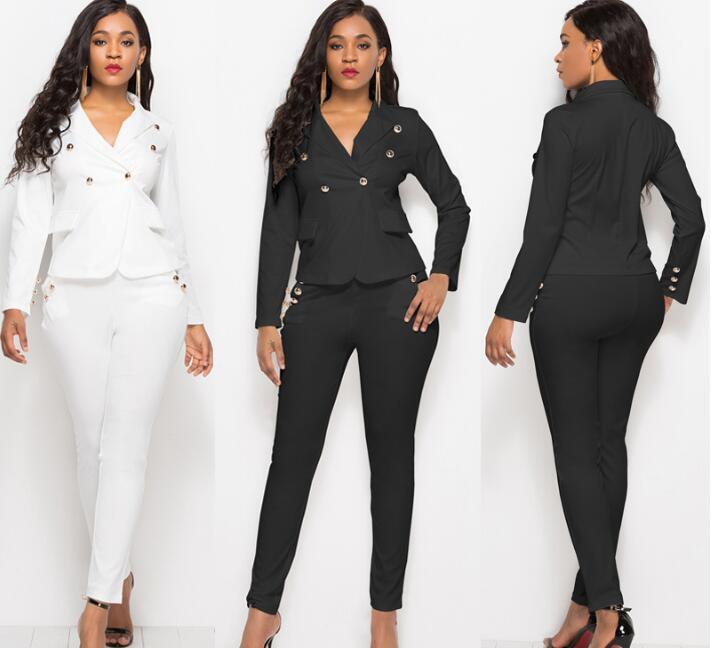 50df5fd1f2 Compre Trajes De Pantalón De Moda 2 Piezas Conjunto Para Mujer Solo Botón  Blanco Chaqueta Blazer Negro Pantalón Office Lady Traje Feminino 2018 A   30.19 Del ...